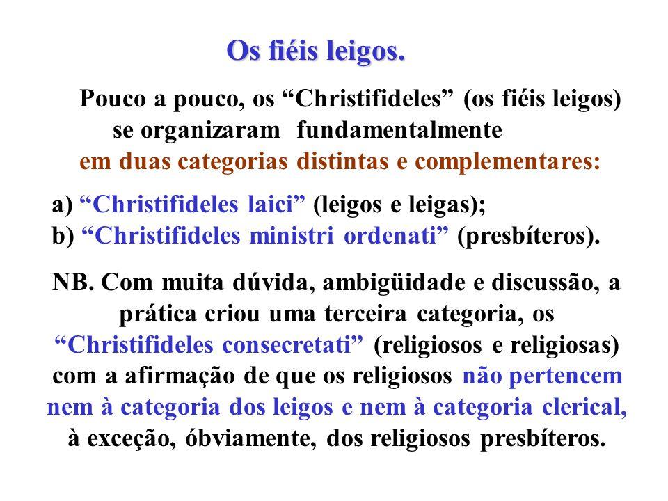 Os fiéis leigos. Pouco a pouco, os Christifideles (os fiéis leigos) se organizaram fundamentalmente.