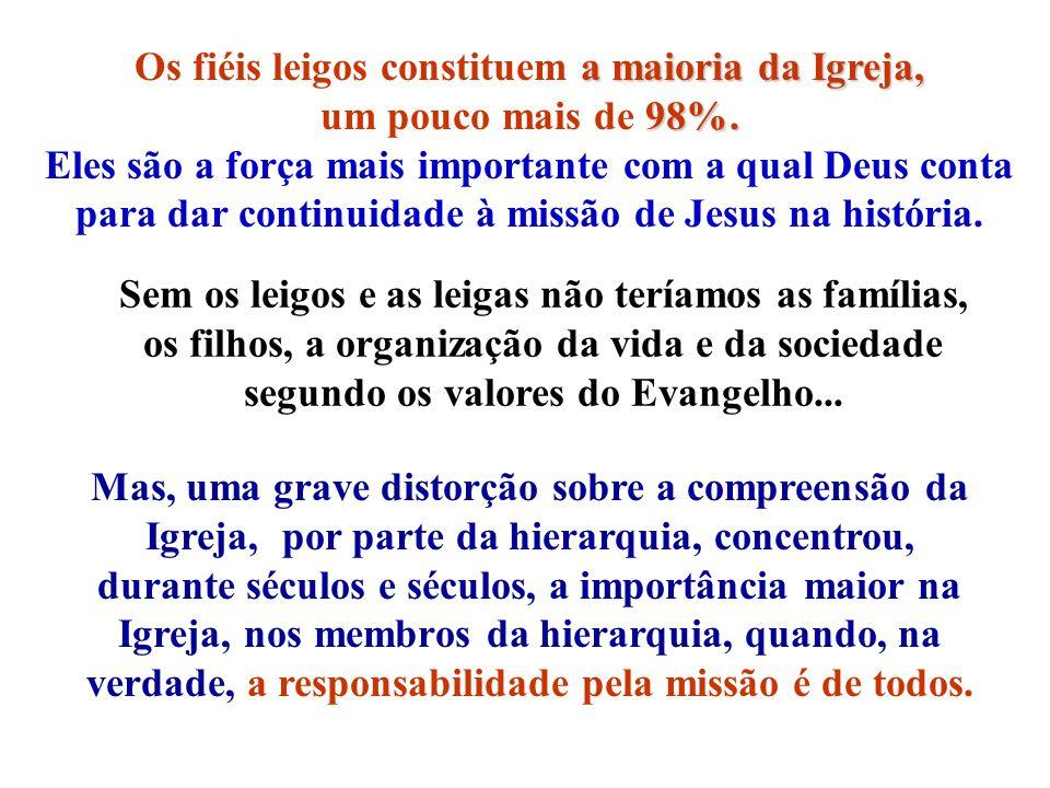 Os fiéis leigos constituem a maioria da Igreja,