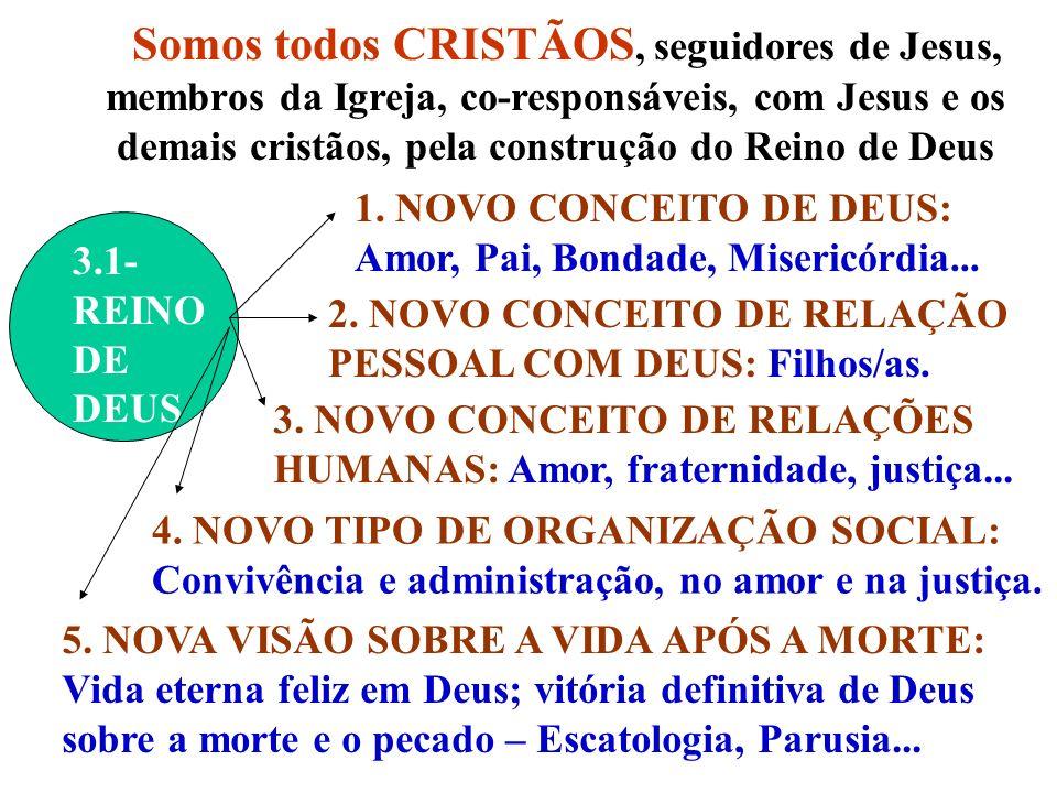 Somos todos CRISTÃOS, seguidores de Jesus, membros da Igreja, co-responsáveis, com Jesus e os demais cristãos, pela construção do Reino de Deus