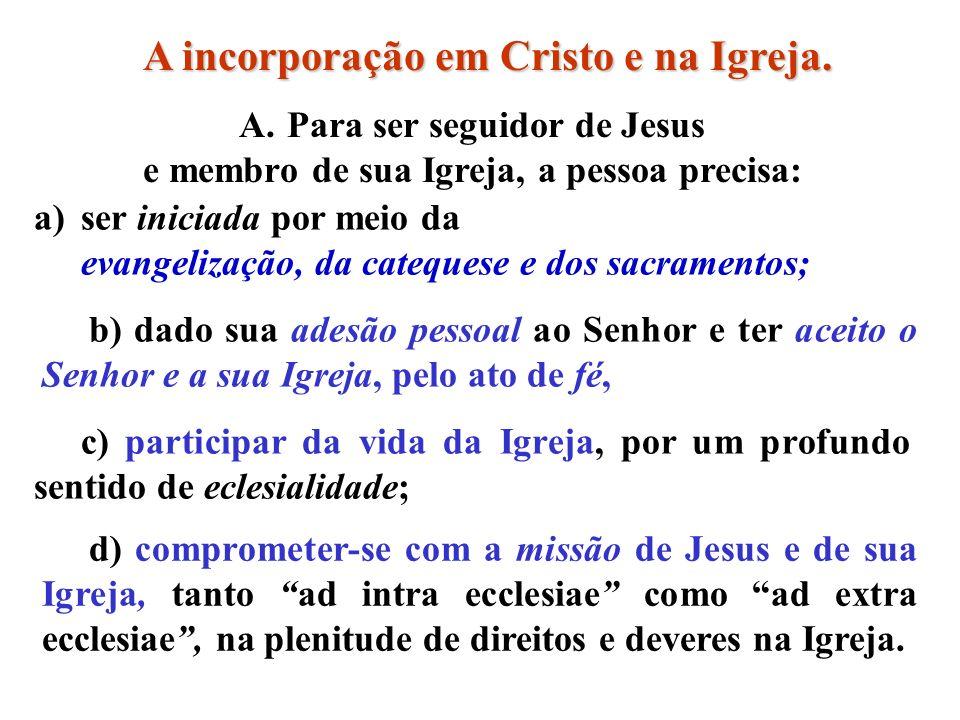 A incorporação em Cristo e na Igreja.