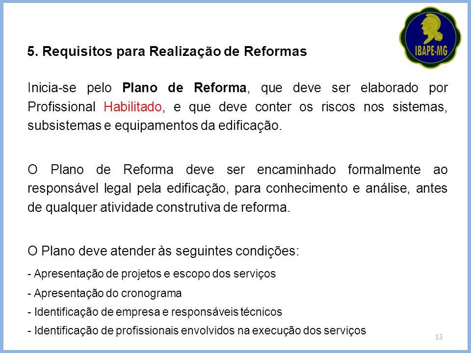 5. Requisitos para Realização de Reformas