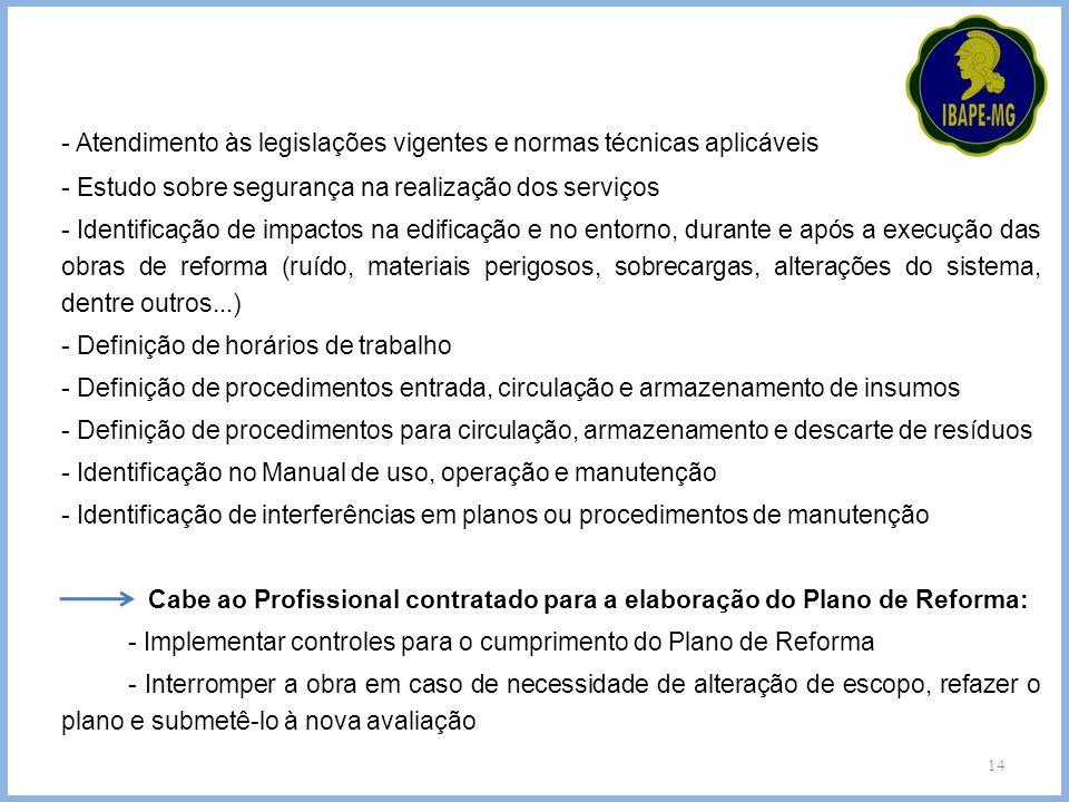 - Atendimento às legislações vigentes e normas técnicas aplicáveis