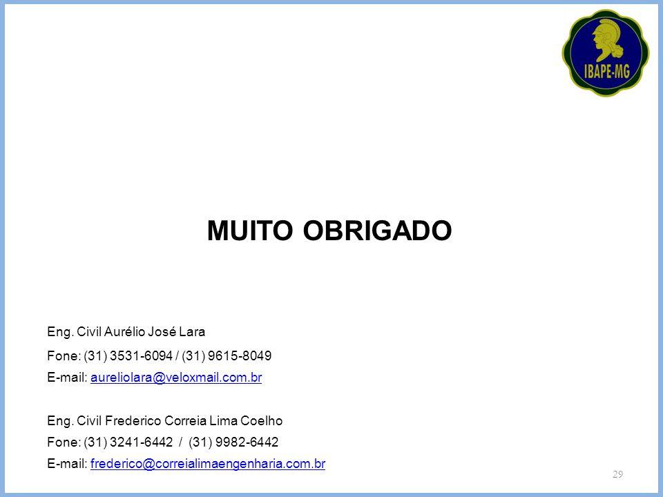 MUITO OBRIGADO Eng. Civil Aurélio José Lara