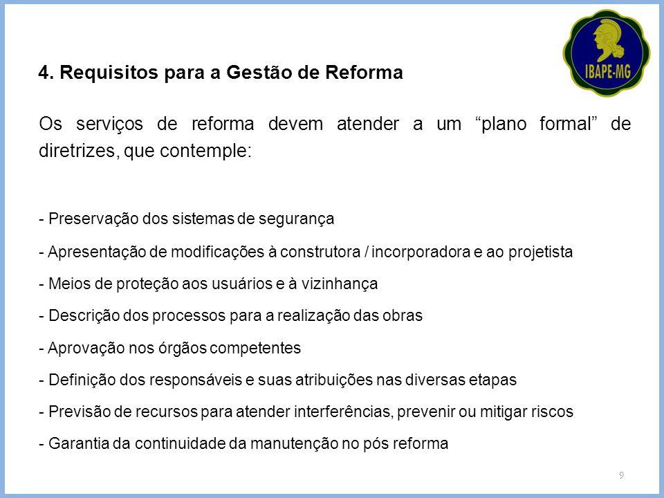 4. Requisitos para a Gestão de Reforma