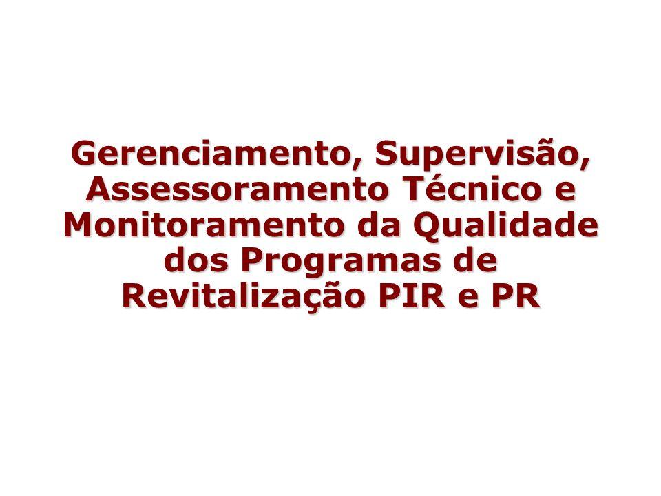 Gerenciamento, Supervisão, Assessoramento Técnico e Monitoramento da Qualidade dos Programas de Revitalização PIR e PR