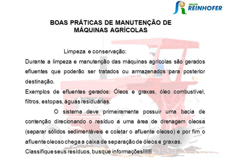 BOAS PRÁTICAS DE MANUTENÇÃO DE MÁQUINAS AGRÍCOLAS