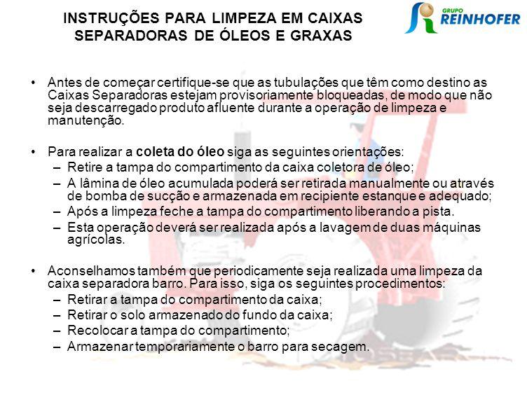 INSTRUÇÕES PARA LIMPEZA EM CAIXAS SEPARADORAS DE ÓLEOS E GRAXAS