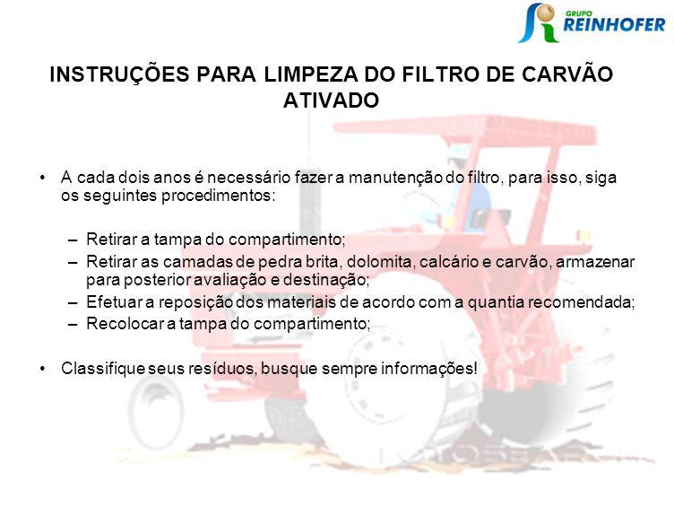 INSTRUÇÕES PARA LIMPEZA DO FILTRO DE CARVÃO ATIVADO
