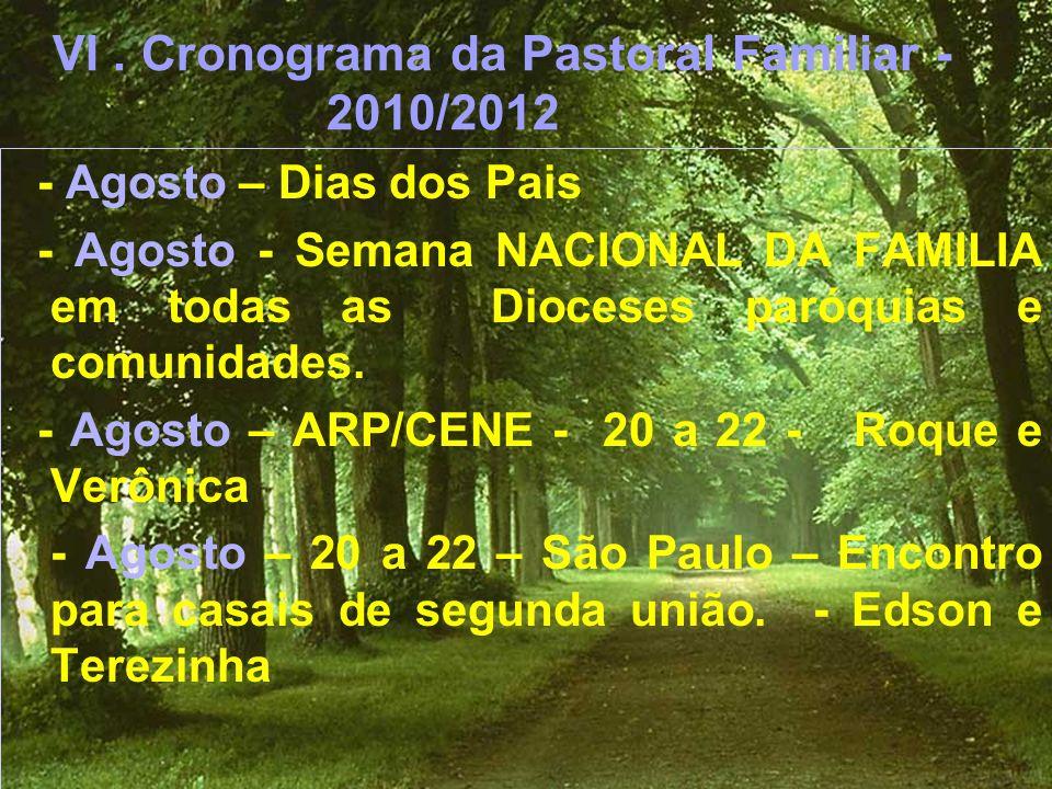 VI . Cronograma da Pastoral Familiar - 2010/2012
