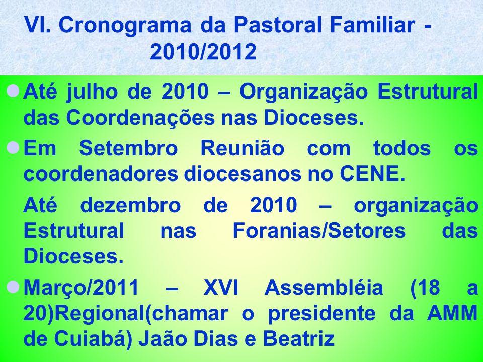 VI. Cronograma da Pastoral Familiar - 2010/2012