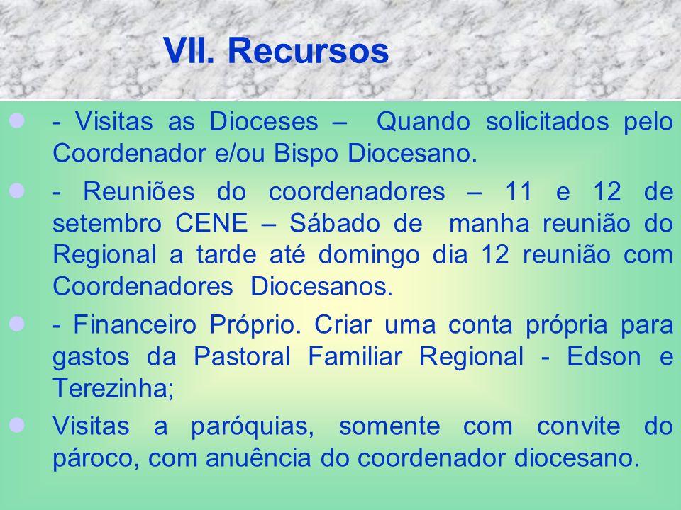 VII. Recursos - Visitas as Dioceses – Quando solicitados pelo Coordenador e/ou Bispo Diocesano.