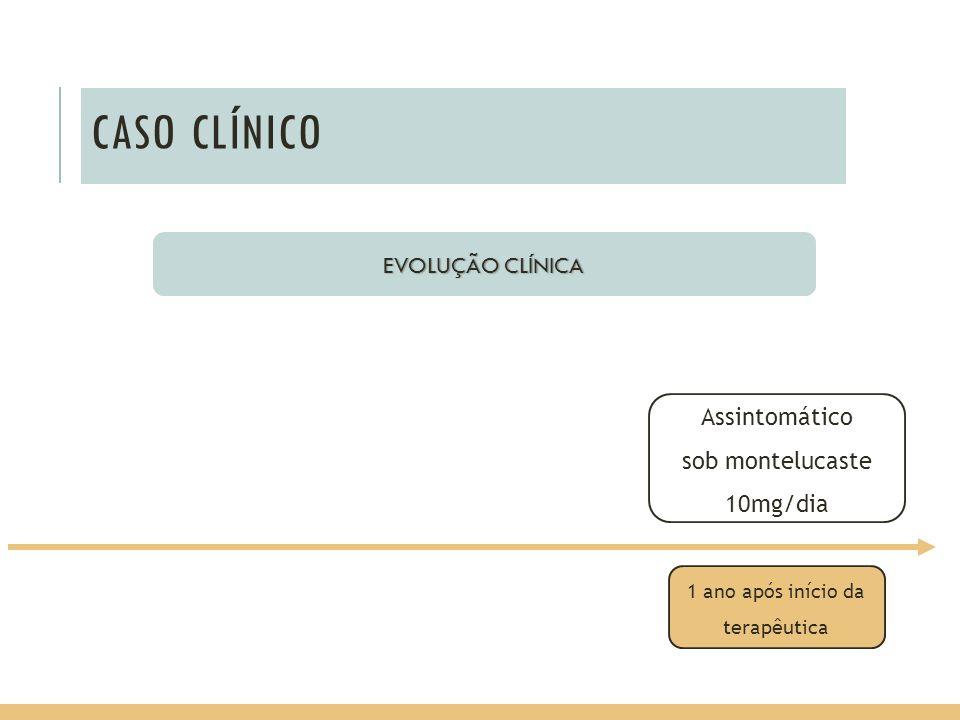 CASO CLÍNICO EVOLUÇÃO CLÍNICA Assintomático sob montelucaste 10mg/dia