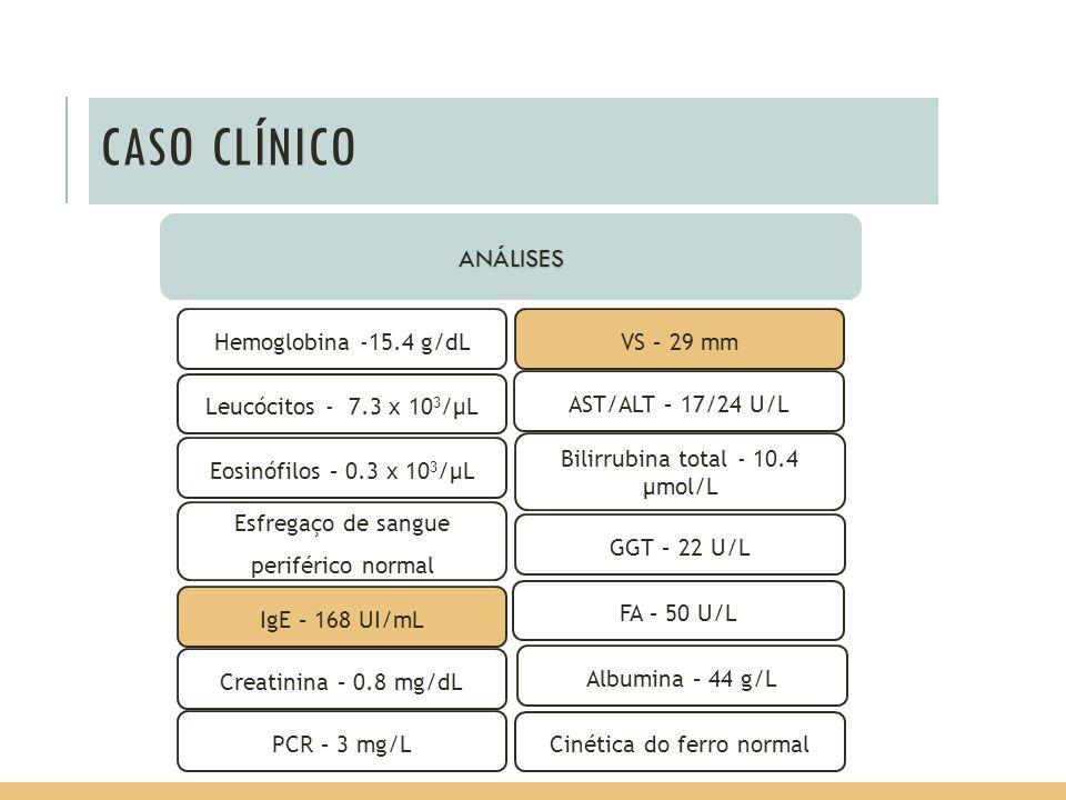 CASO CLÍNICO ANÁLISES Hemoglobina -15.4 g/dL VS – 29 mm