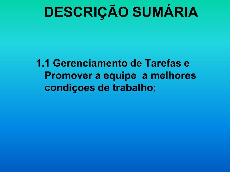 DESCRIÇÃO SUMÁRIA1.1 Gerenciamento de Tarefas e Promover a equipe a melhores condiçoes de trabalho;