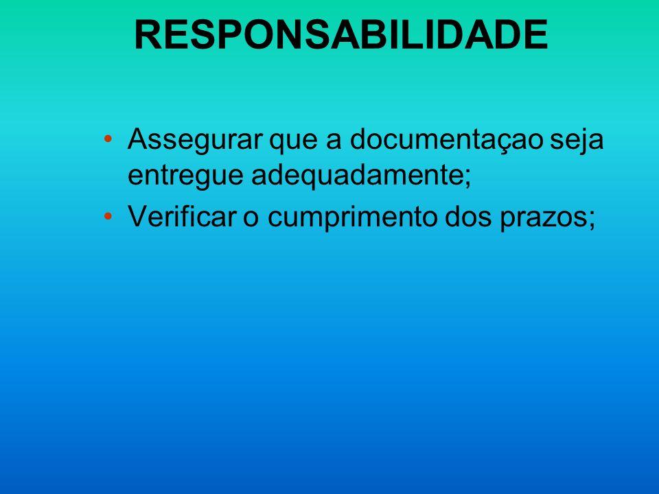 RESPONSABILIDADE Assegurar que a documentaçao seja entregue adequadamente; Verificar o cumprimento dos prazos;