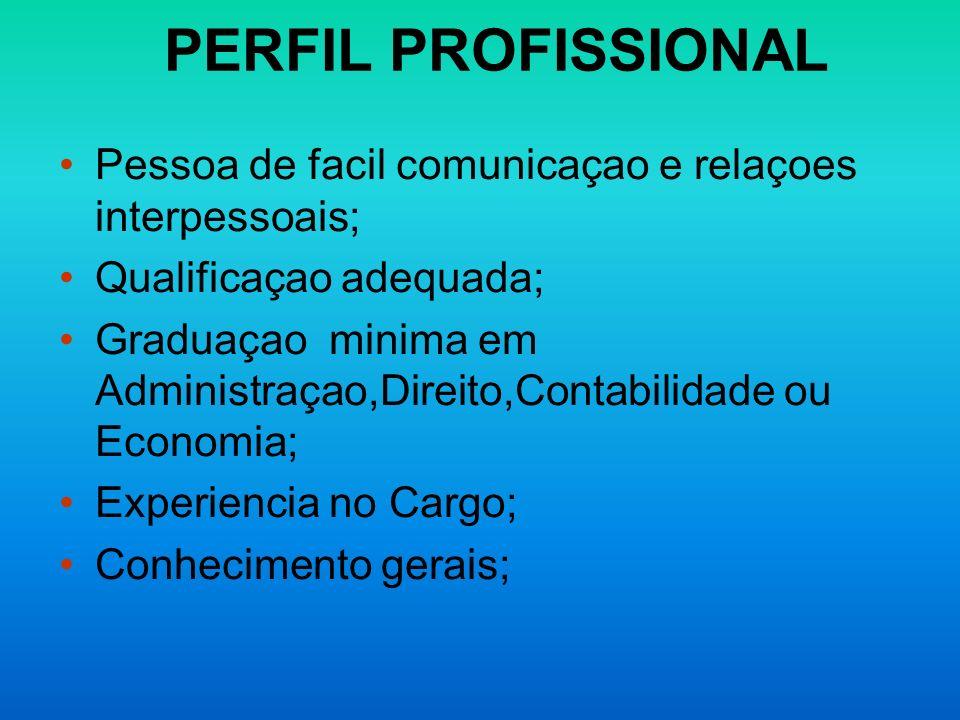 PERFIL PROFISSIONALPessoa de facil comunicaçao e relaçoes interpessoais; Qualificaçao adequada;