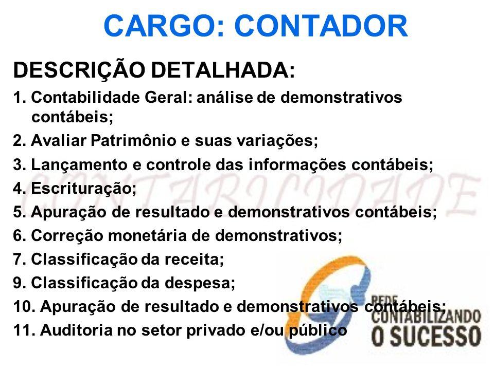 CARGO: CONTADOR DESCRIÇÃO DETALHADA: