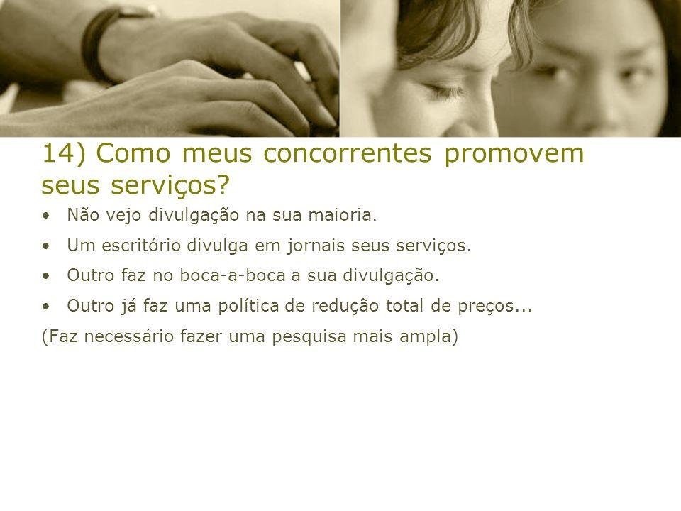 14) Como meus concorrentes promovem seus serviços
