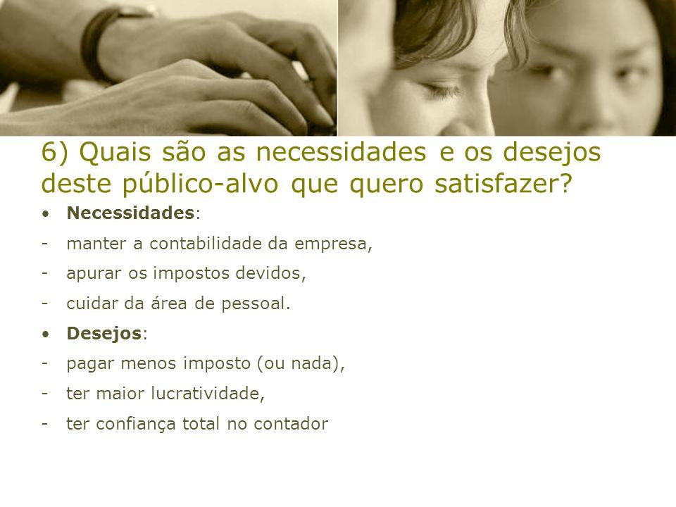 6) Quais são as necessidades e os desejos deste público-alvo que quero satisfazer