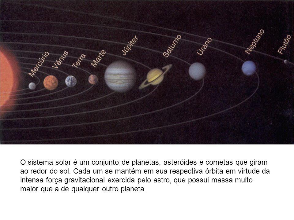 O sistema solar é um conjunto de planetas, asteróides e cometas que giram ao redor do sol.