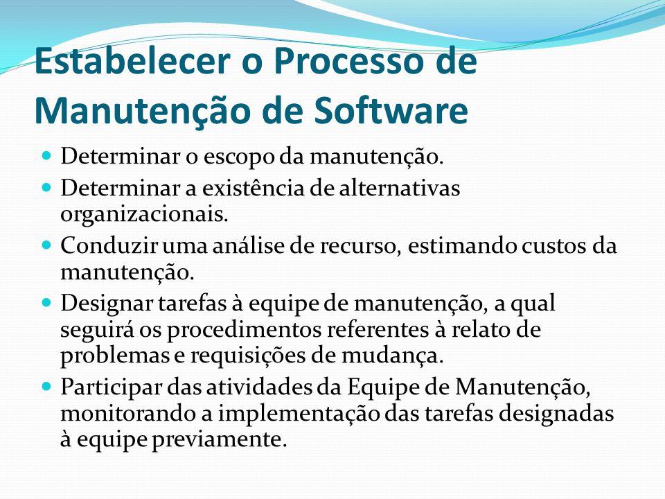 Estabelecer o Processo de Manutenção de Software