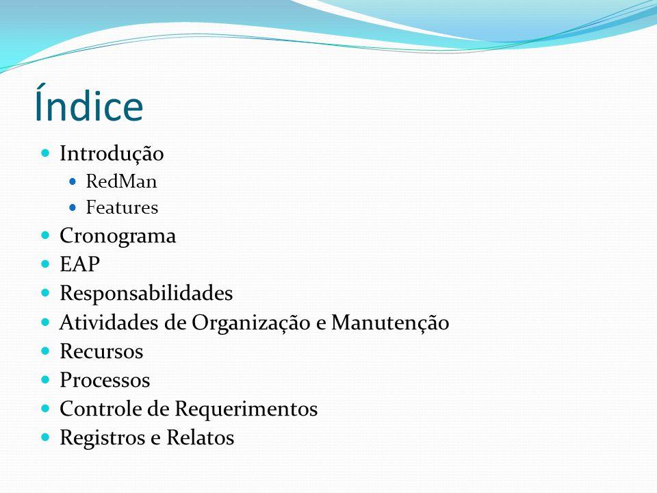 Índice Introdução Cronograma EAP Responsabilidades