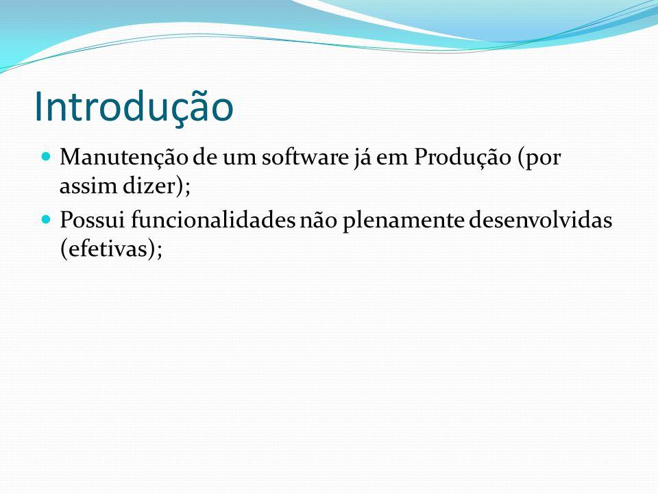 Introdução Manutenção de um software já em Produção (por assim dizer);