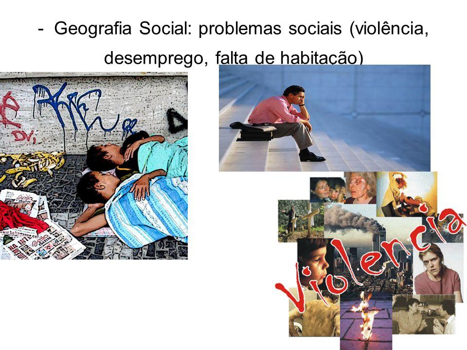 - Geografia Social: problemas sociais (violência, desemprego, falta de habitação)