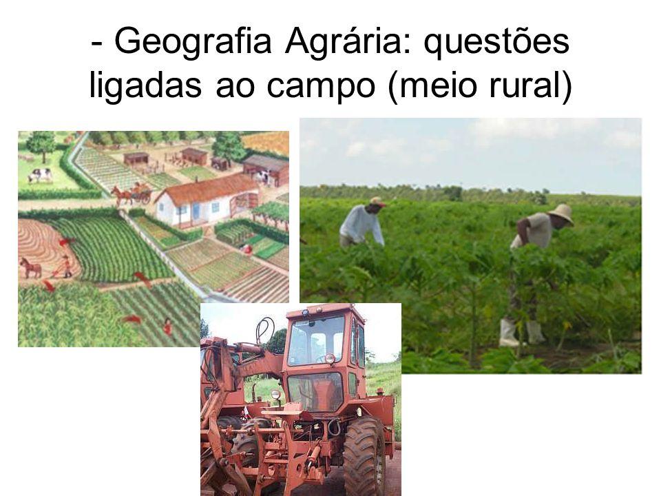 - Geografia Agrária: questões ligadas ao campo (meio rural)