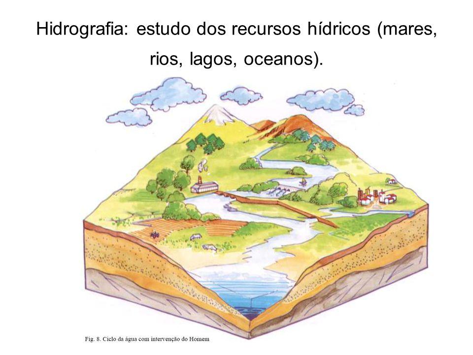 Hidrografia: estudo dos recursos hídricos (mares, rios, lagos, oceanos).