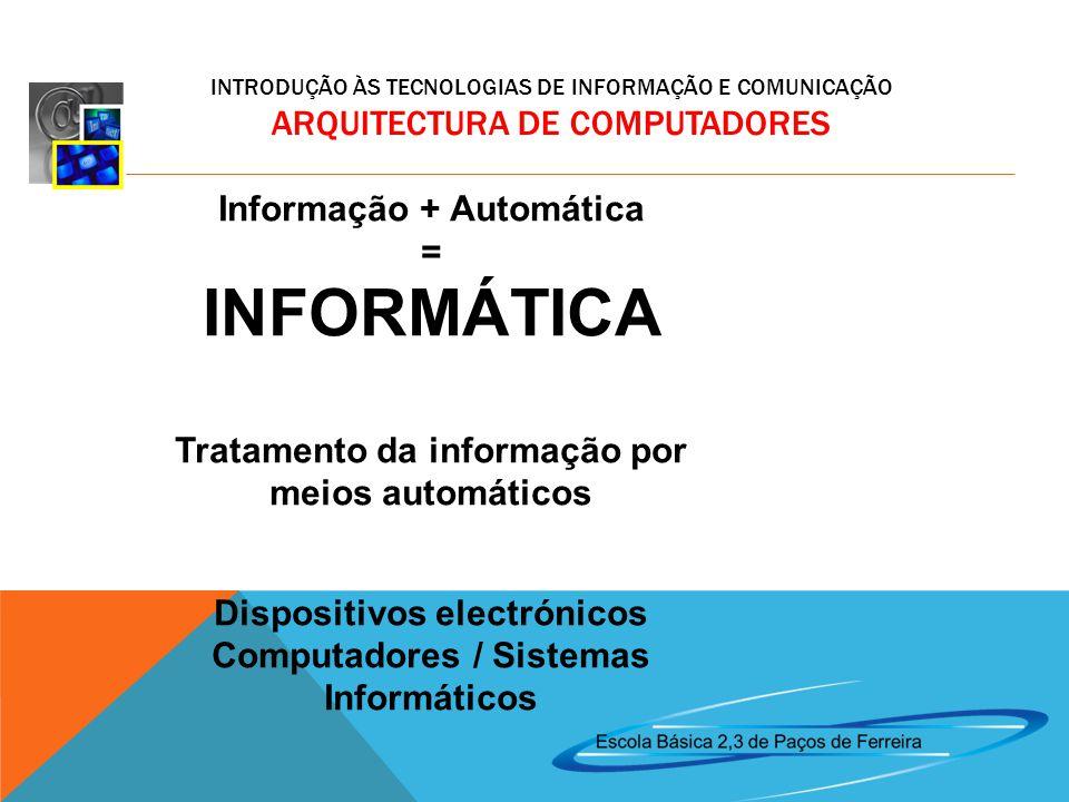 INFORMÁTICA Informação + Automática = Tratamento da informação por