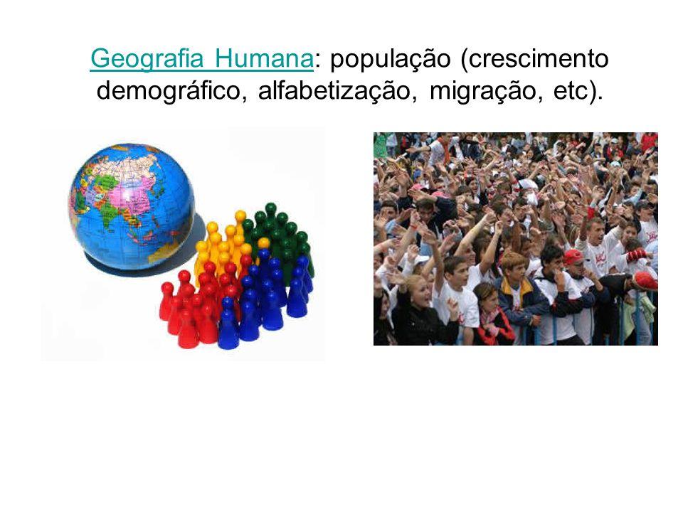 Geografia Humana: população (crescimento demográfico, alfabetização, migração, etc).