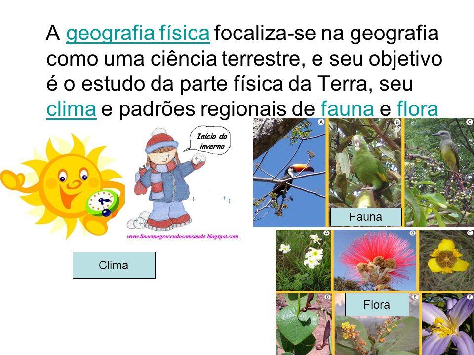 A geografia física focaliza-se na geografia como uma ciência terrestre, e seu objetivo é o estudo da parte física da Terra, seu clima e padrões regionais de fauna e flora