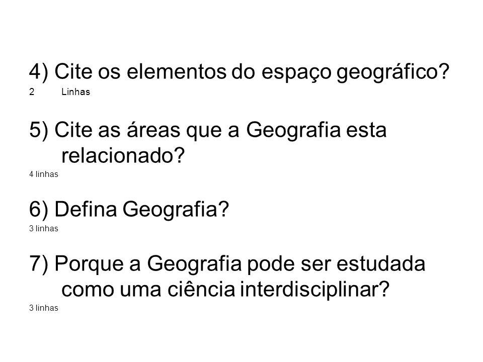 4) Cite os elementos do espaço geográfico