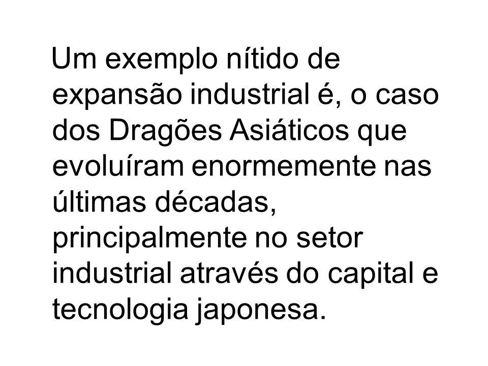 Um exemplo nítido de expansão industrial é, o caso dos Dragões Asiáticos que evoluíram enormemente nas últimas décadas, principalmente no setor industrial através do capital e tecnologia japonesa.