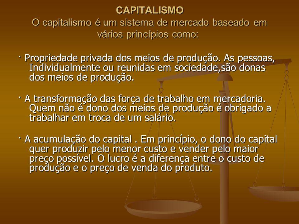 CAPITALISMO O capitalismo é um sistema de mercado baseado em vários princípios como: