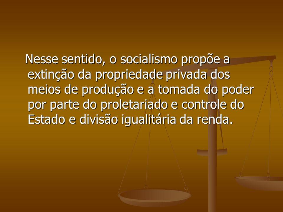 Nesse sentido, o socialismo propõe a extinção da propriedade privada dos meios de produção e a tomada do poder por parte do proletariado e controle do Estado e divisão igualitária da renda.