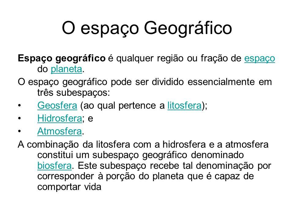 O espaço Geográfico Espaço geográfico é qualquer região ou fração de espaço do planeta.