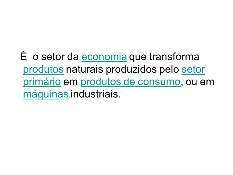 É o setor da economia que transforma produtos naturais produzidos pelo setor primário em produtos de consumo, ou em máquinas industriais.