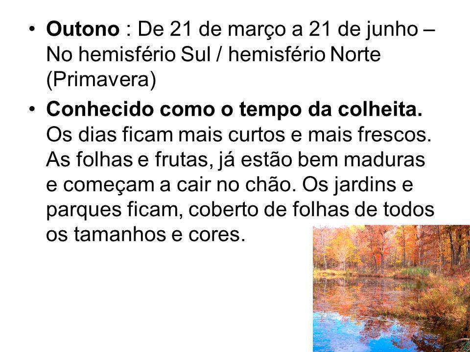 Outono : De 21 de março a 21 de junho – No hemisfério Sul / hemisfério Norte (Primavera)