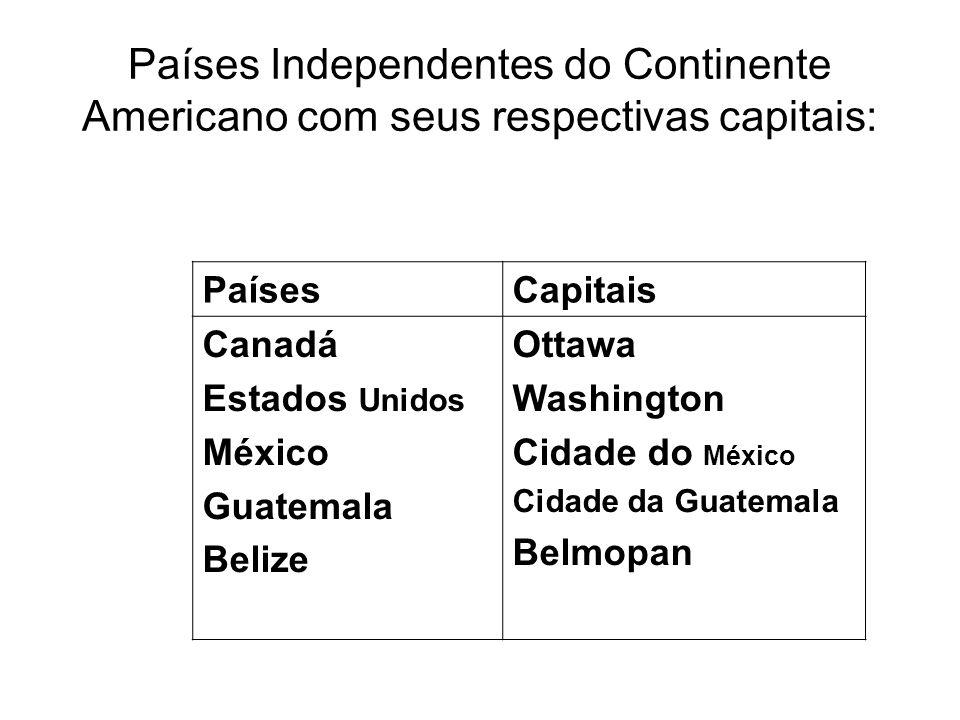 Países Independentes do Continente Americano com seus respectivas capitais: