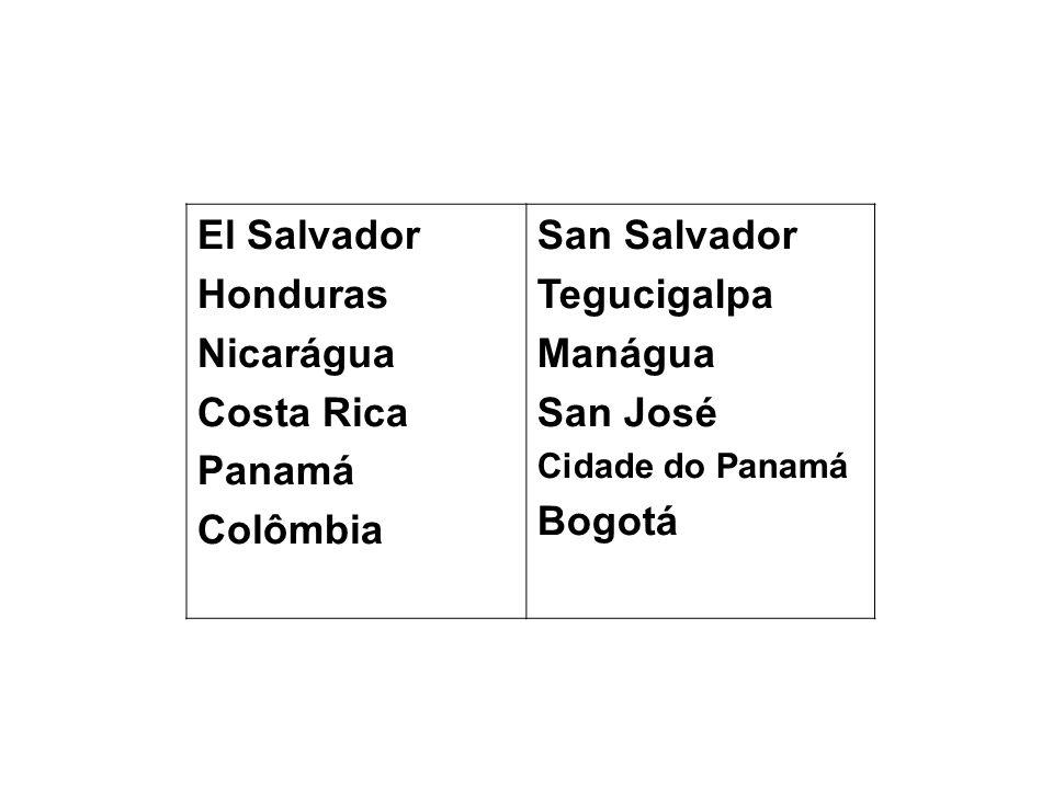 El Salvador Honduras Nicarágua Costa Rica Panamá Colômbia San Salvador