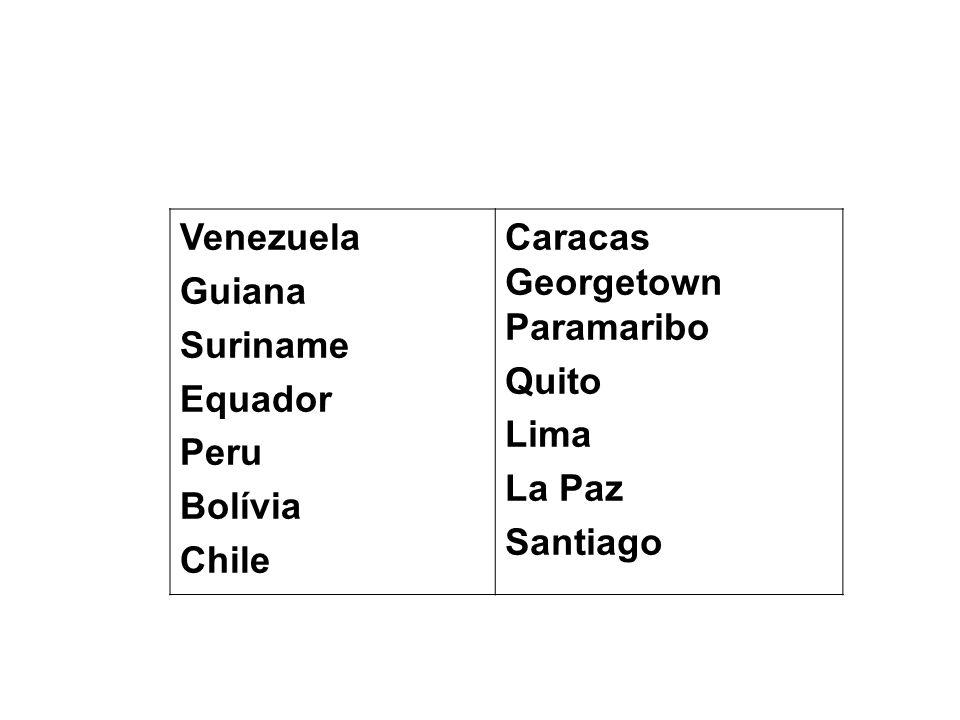 VenezuelaGuiana. Suriname. Equador. Peru. Bolívia. Chile. Caracas Georgetown Paramaribo. Quito. Lima.