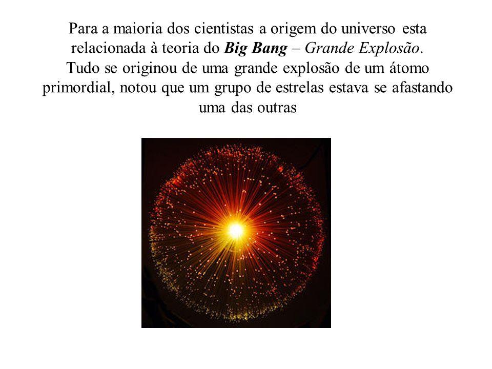 Para a maioria dos cientistas a origem do universo esta relacionada à teoria do Big Bang – Grande Explosão.