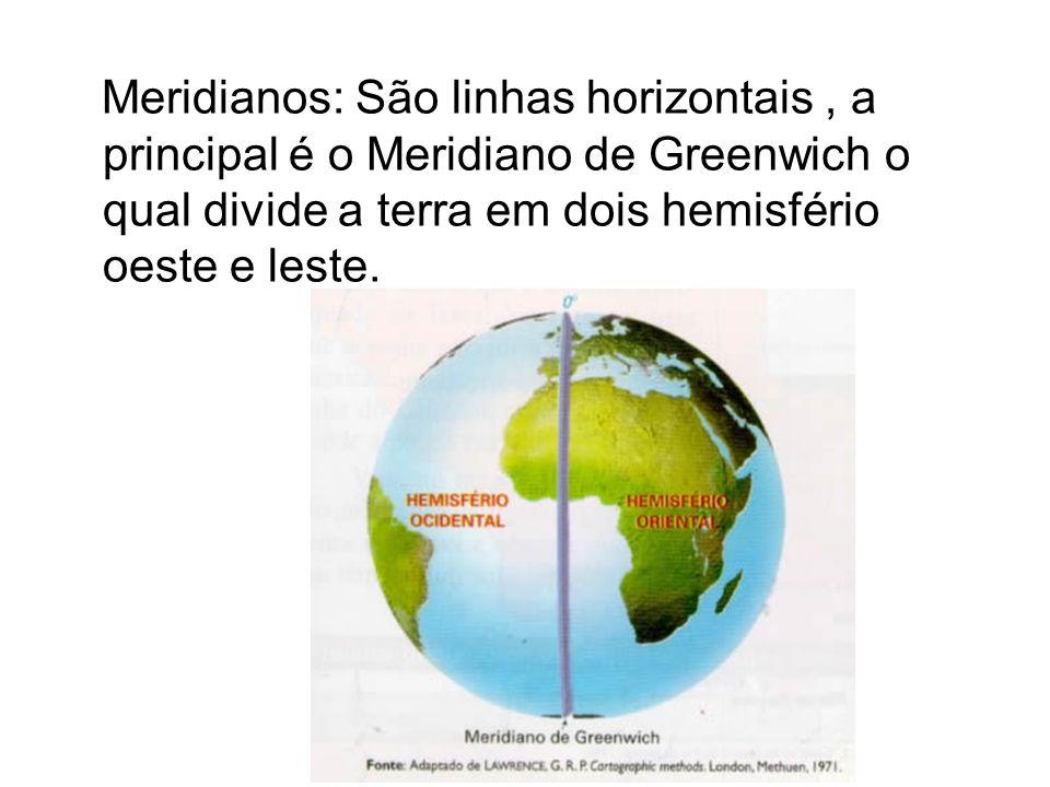 Meridianos: São linhas horizontais , a principal é o Meridiano de Greenwich o qual divide a terra em dois hemisfério oeste e leste.