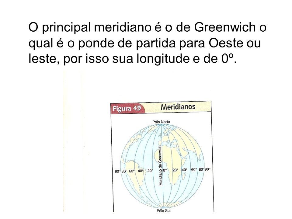 O principal meridiano é o de Greenwich o qual é o ponde de partida para Oeste ou leste, por isso sua longitude e de 0º.
