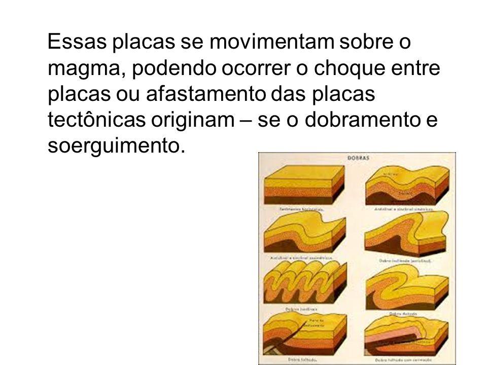 Essas placas se movimentam sobre o magma, podendo ocorrer o choque entre placas ou afastamento das placas tectônicas originam – se o dobramento e soerguimento.