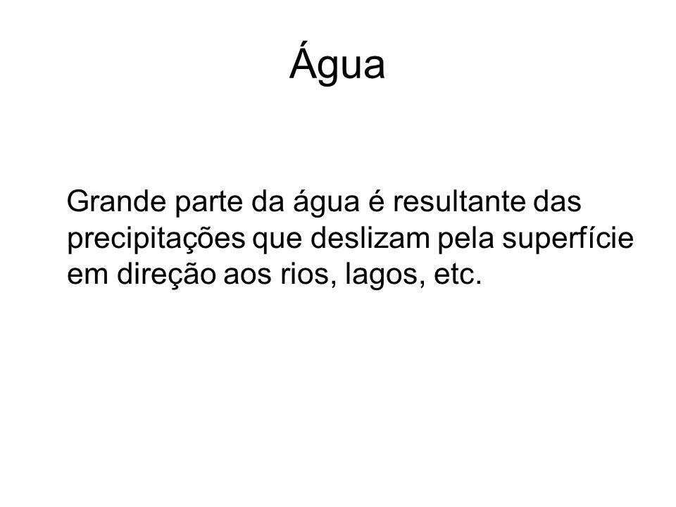 ÁguaGrande parte da água é resultante das precipitações que deslizam pela superfície em direção aos rios, lagos, etc.