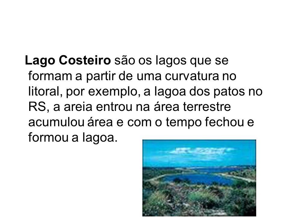 Lago Costeiro são os lagos que se formam a partir de uma curvatura no litoral, por exemplo, a lagoa dos patos no RS, a areia entrou na área terrestre acumulou área e com o tempo fechou e formou a lagoa.