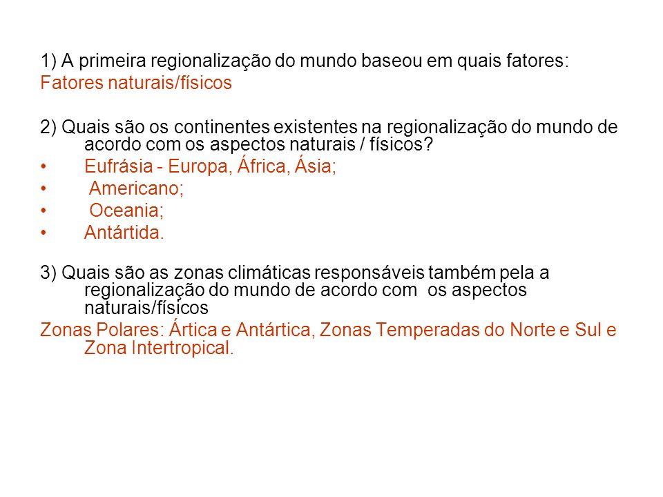 1) A primeira regionalização do mundo baseou em quais fatores:
